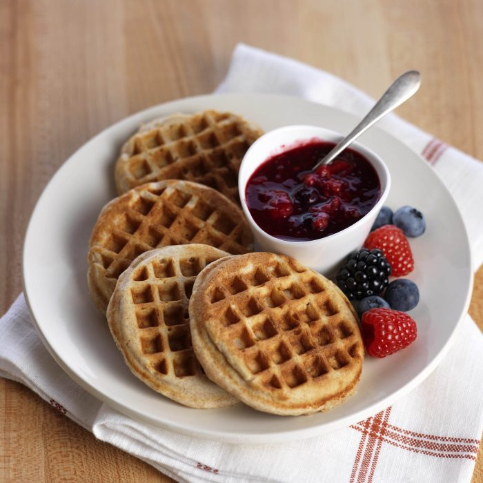 waffles, berries, almonds