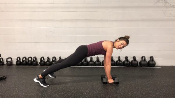 Dumbbell Plank Rotation